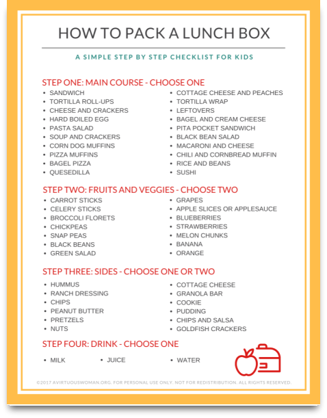 How to Pack a Lunch Box Checklist @ AVirtuousWoman.org