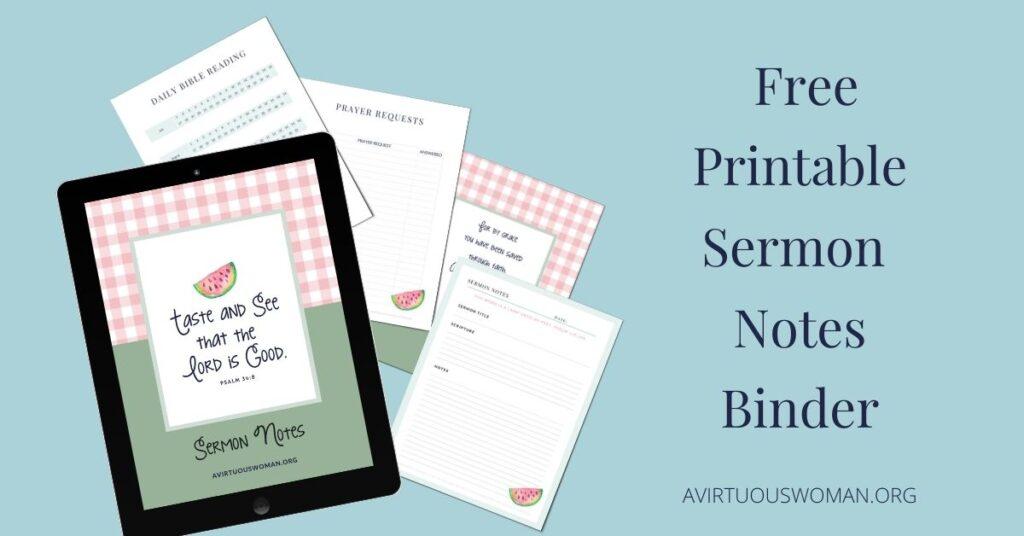 Taste and See Sermon Notes Binder @ AVirtuousWoman.org
